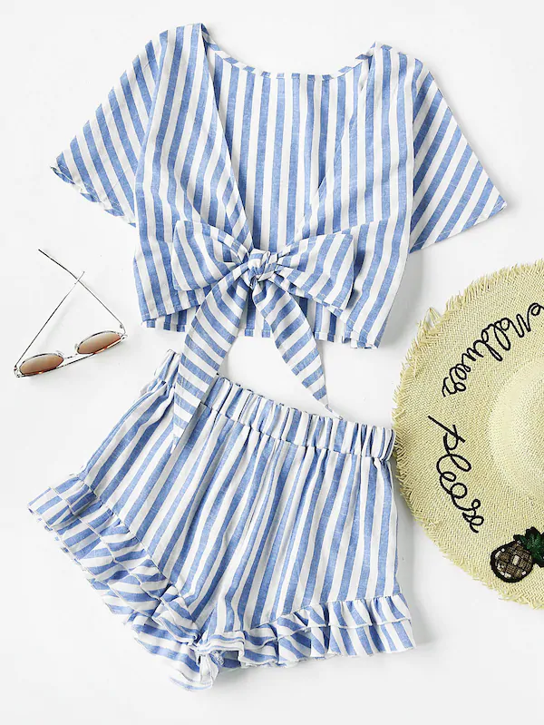 Plunging Bow Tie Two Way Top And Ruffle Shorts Set _ SHEIN